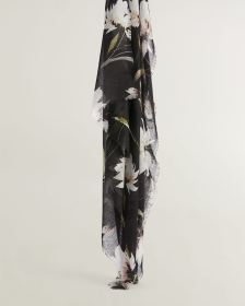 Black Floral Oblong Scarf