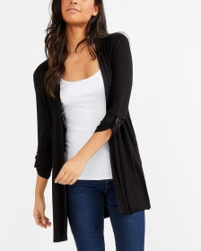 ¾ Sleeve Solid Open Cardigan