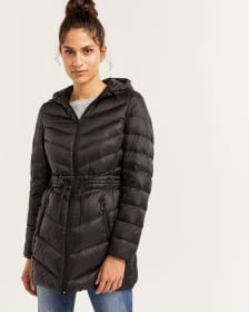 Long Lightweight Down Coat with Cinched Waist