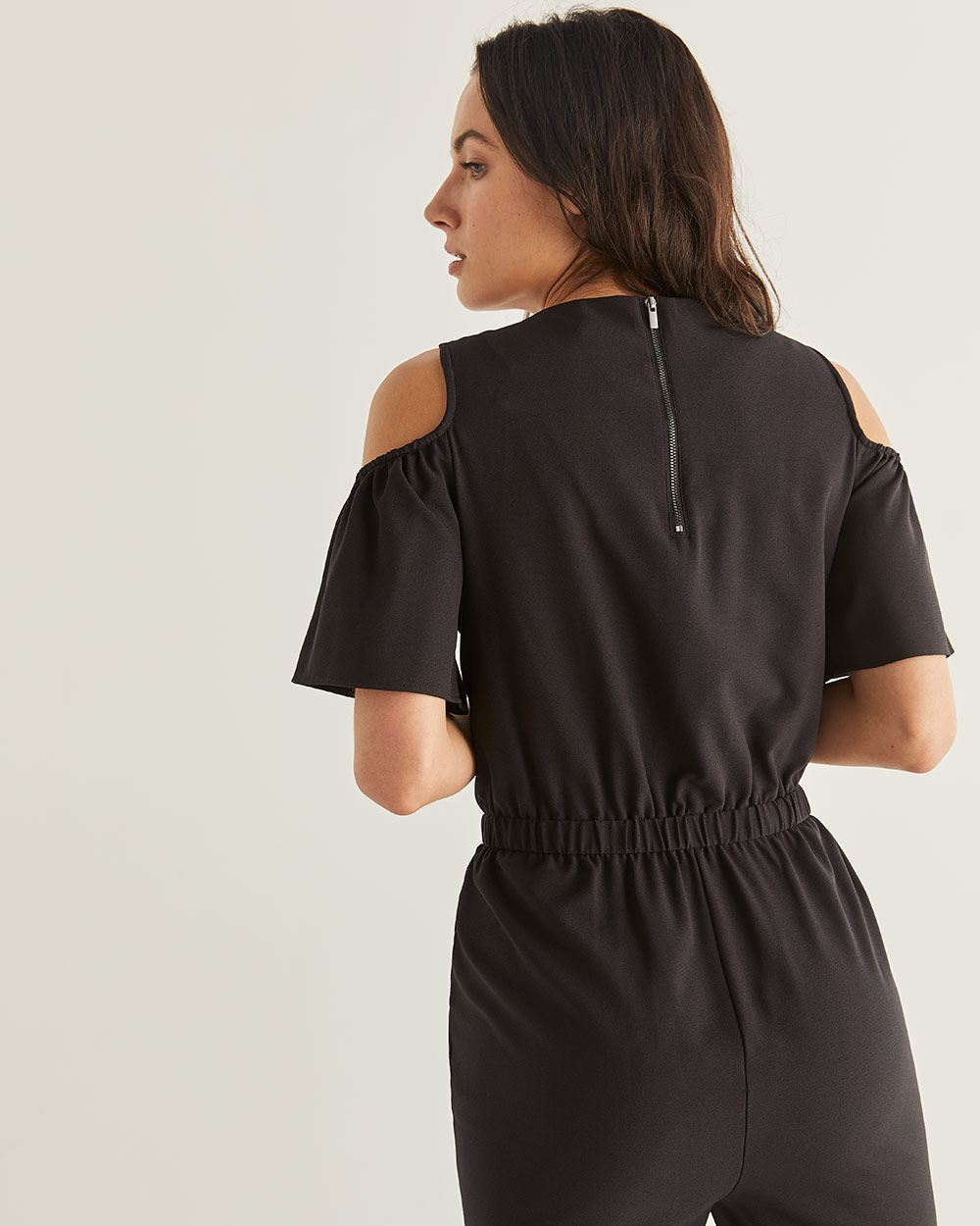 Cold-Shoulder Flutter Sleeve Black Jumpsuit