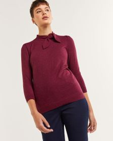 3/4 Sleeve Sweater with Bow Neck