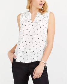 Sleeveless Ruffle Printed Blouse