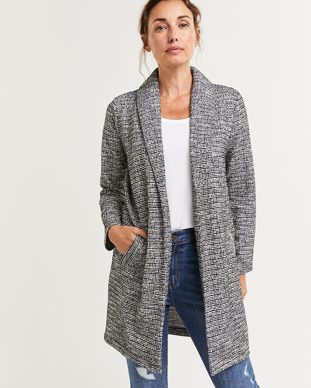 Long Sleeve Tweed Coatigan with Pockets