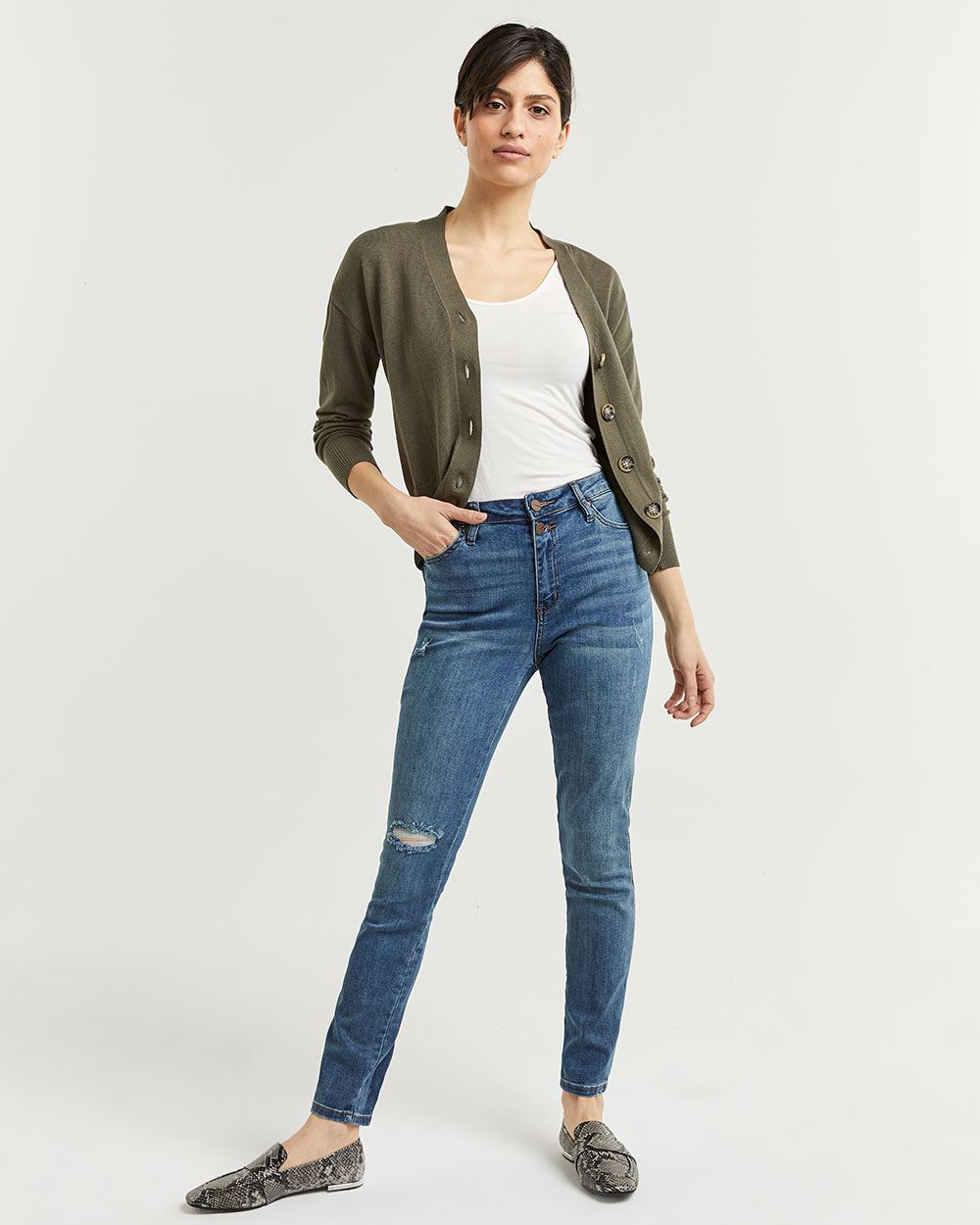 2-Button High Rise Skinny Jeans