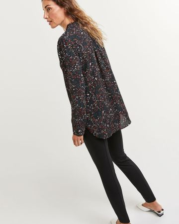 Long Sleeve Ruffle Neck Printed Tunic - Petite