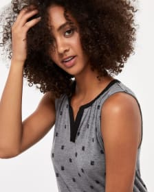 R Essentials Sleeveless Mix Media Top