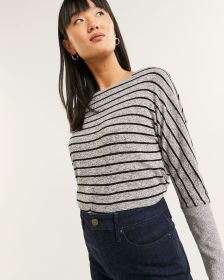 Long Dolman Sleeve Striped Tee with Wide Cuffs