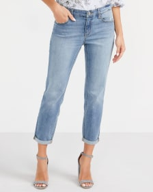 White Embroidery Light Wash Cropped Jeans