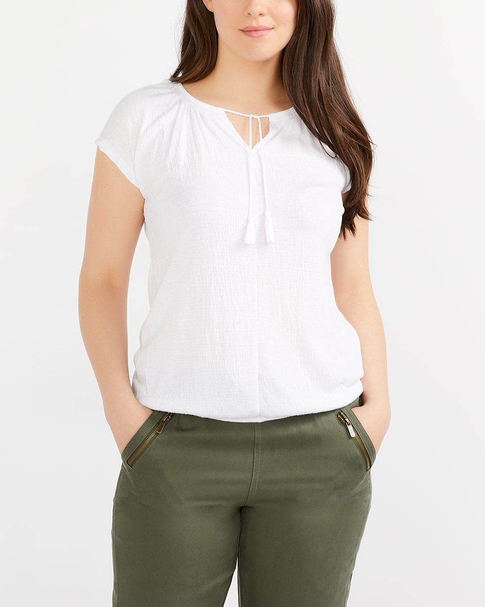 Cord Neck Cap Sleeve Top