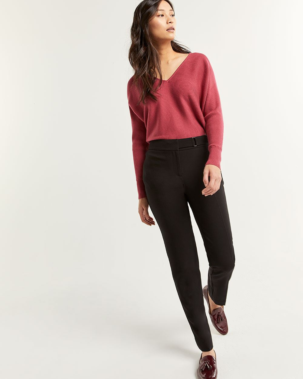 Slim Pants with Metal Buckle