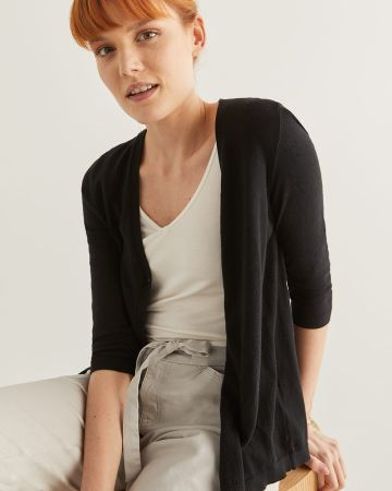 R Essentials 3/4 Sleeve Cotton Cardigan