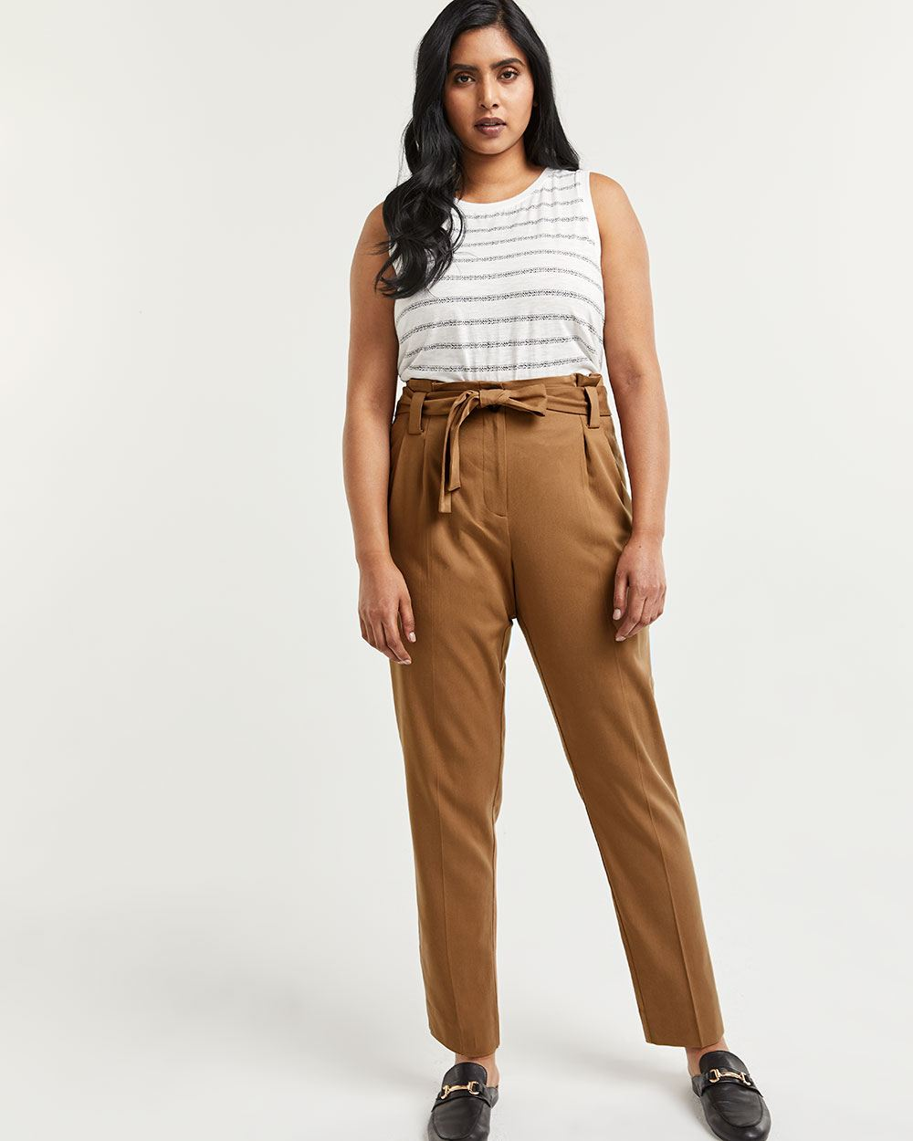 High Rise Tapered Paperbag Pants with Sash