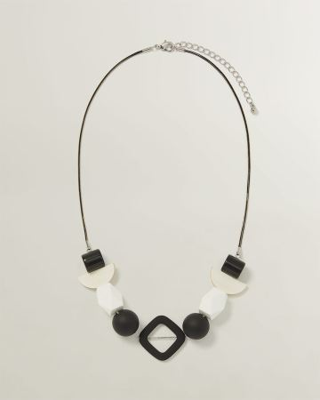 Black & White Multi Beads Necklace