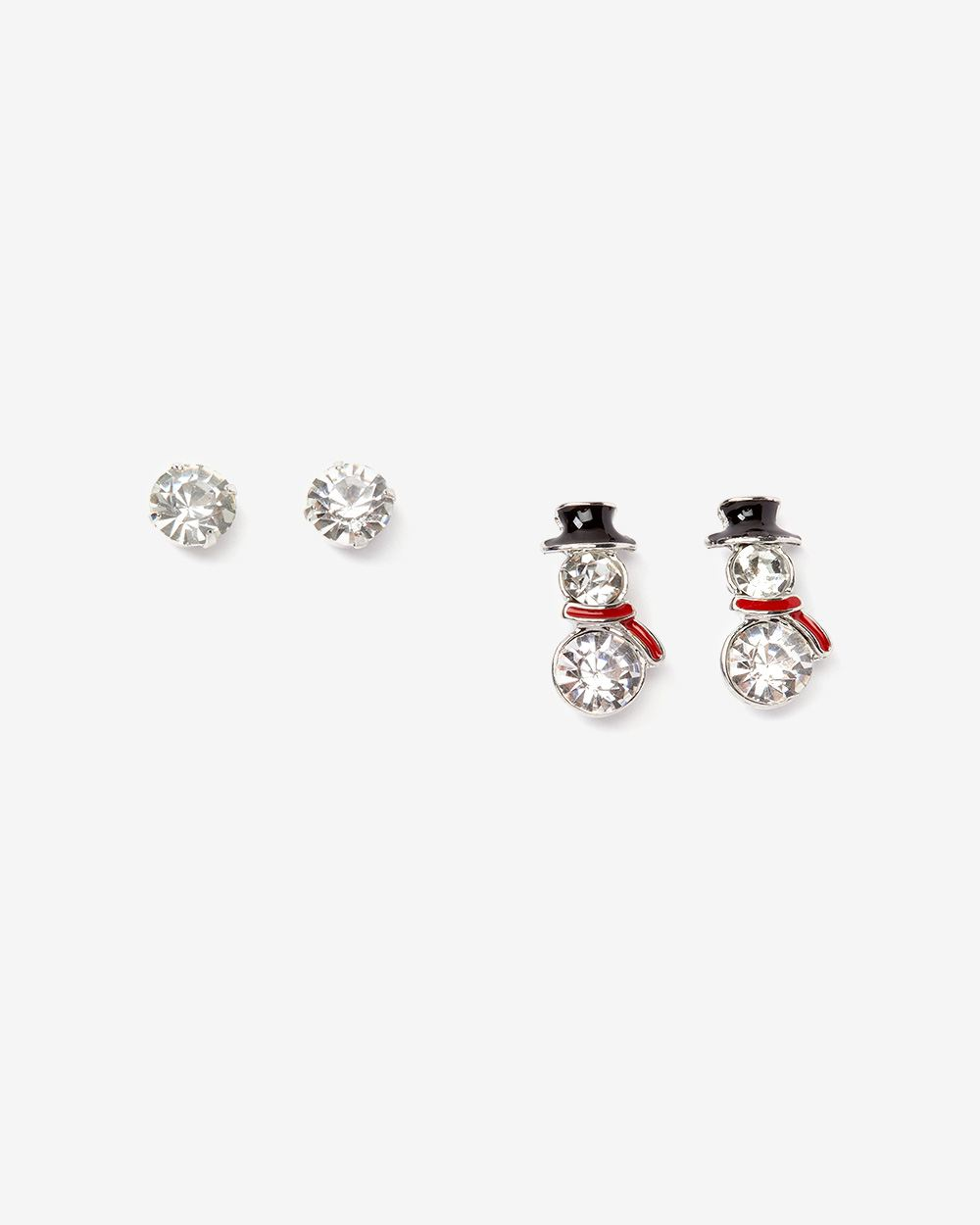 2-Pair Set Snowman Earrings