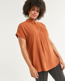 Short Sleeve Shirt Collar Tunic