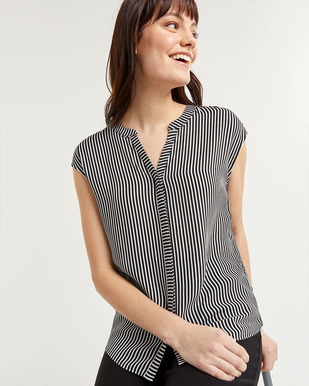 Short Sleeve Striped V-Neck Blouse