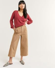 High Rise Wide Leg Cropped Pants