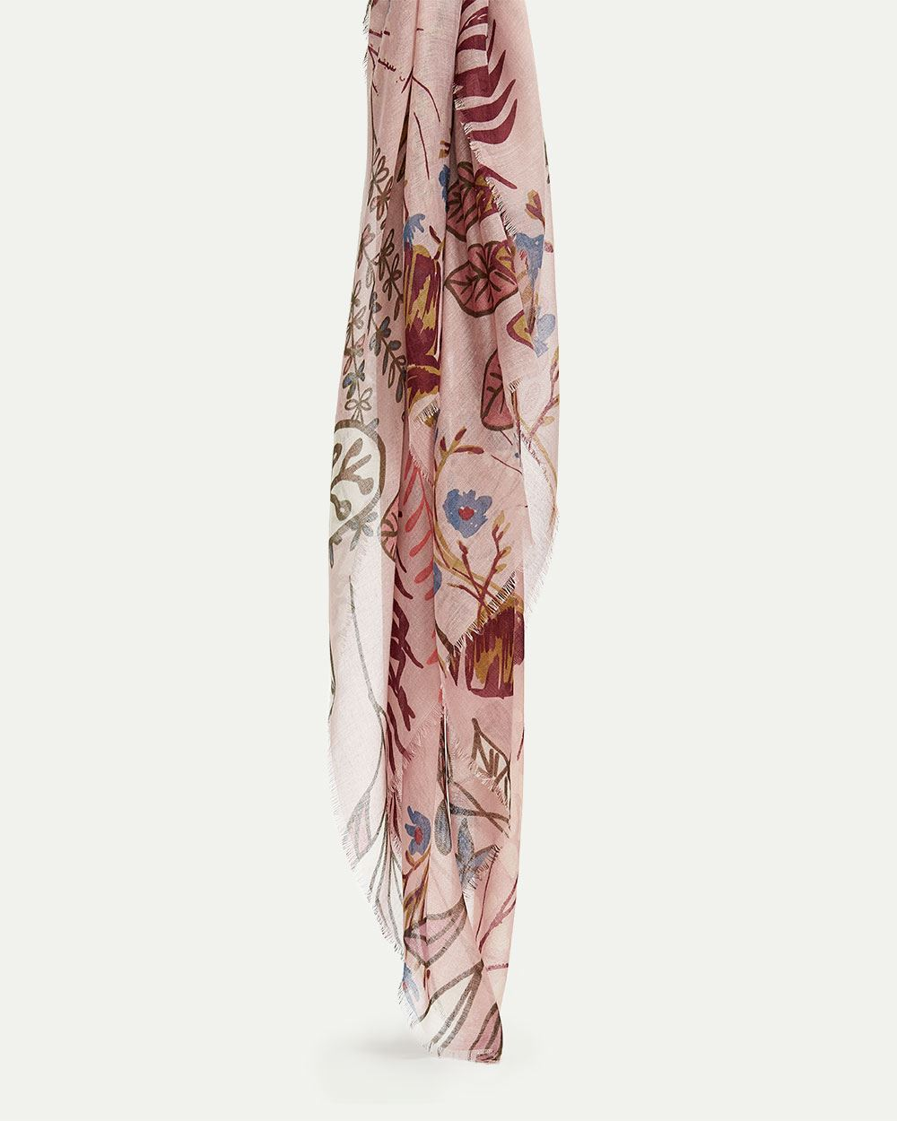 Floral & Leaves Print Oblong Scarf