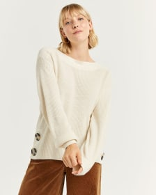 Long Balloon Sleeve Sweater with Oversized Buttons