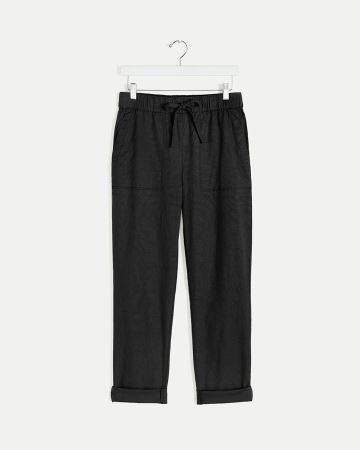 Linen-Blend Tapered Pull On Pants