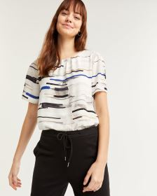 Pleated Crew Neck Printed Blouse Smart Set
