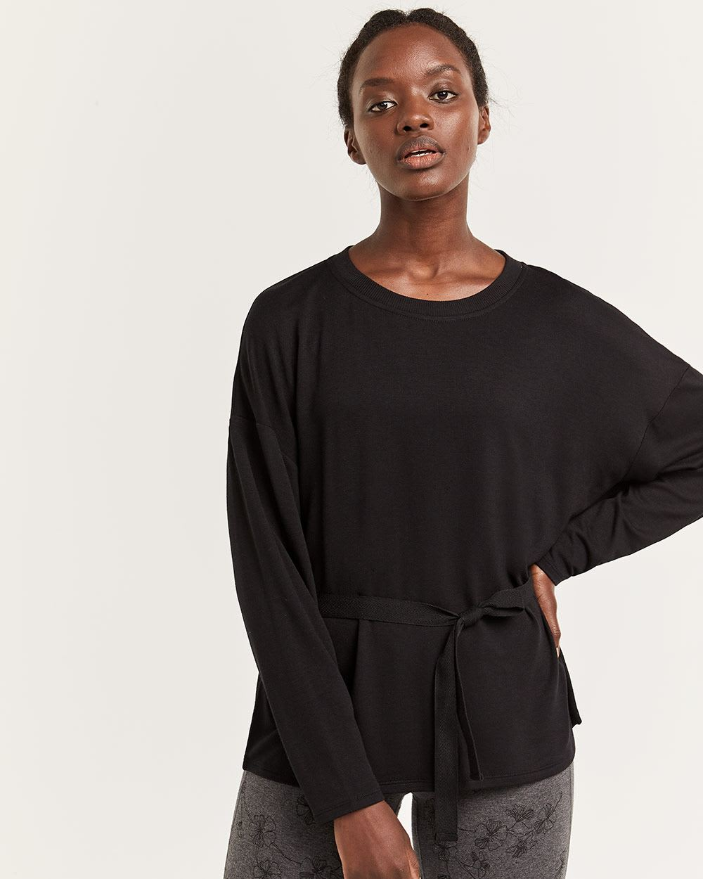 Hyba Front Tie Dolman Sleeve Top
