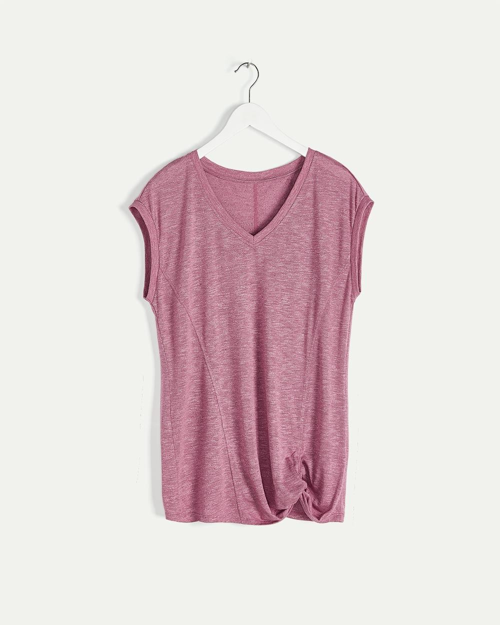 Knotted Front Short Sleeve Tee Hyba