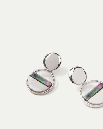 Mother-of-Pearl Circle Drop Earrings