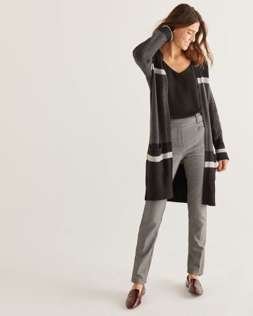 Colorblock Long Open Cardigan with Pockets - Petite