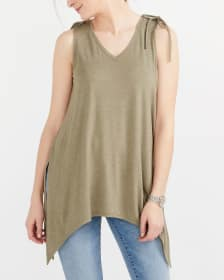 Sleeveless Solid 4-Way Top