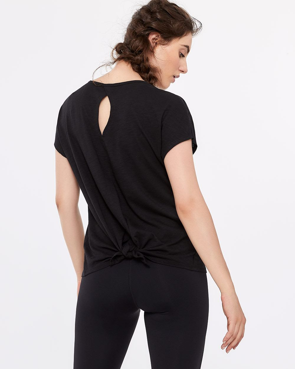 Hyba Back Tie and Keyhole Printed Tee