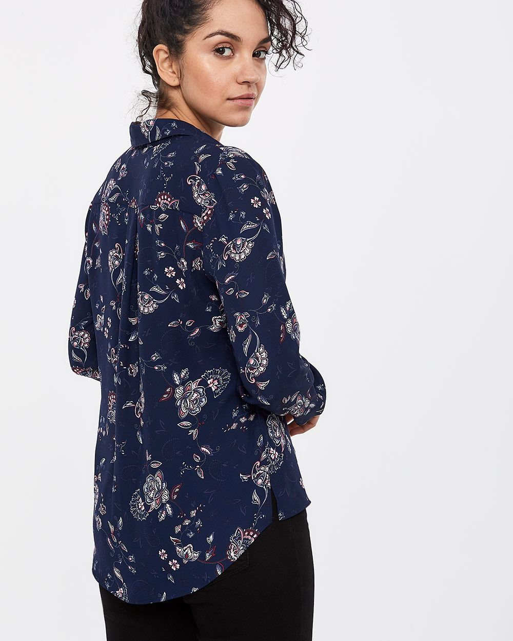 Long Sleeve Crepe Shirt
