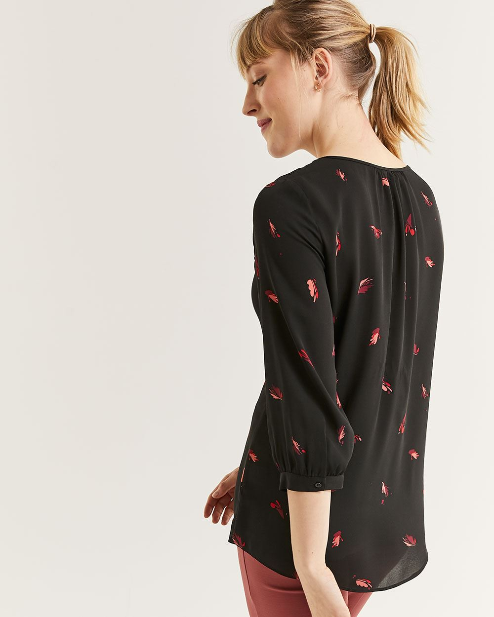 3/4 Sleeve Crew Neck Printed Blouse with Pintucks