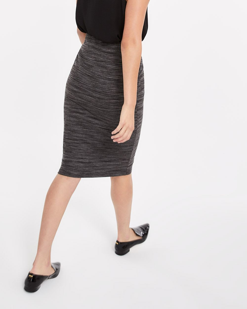 Pull On Elastic Waist Pencil Skirt