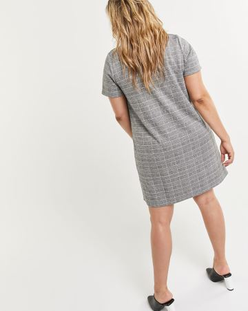 Short Sleeve Plaid Shift Dress with Buttons at Shoulders