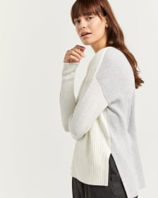 Cotton-Blend Crew Neck Sweater with Rib Details