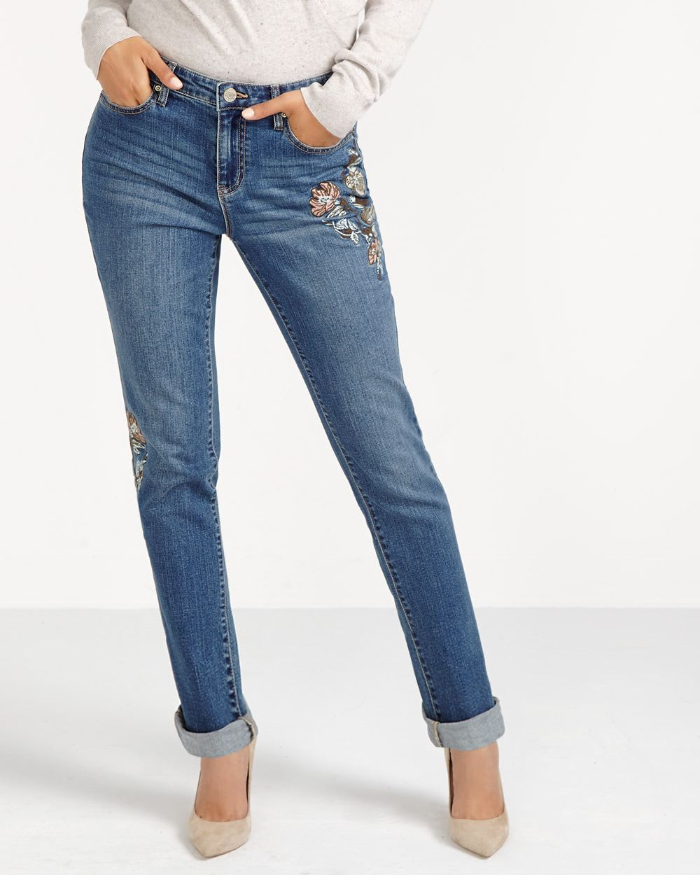 Tall Straight Leg Embroidered Jeans | Tall