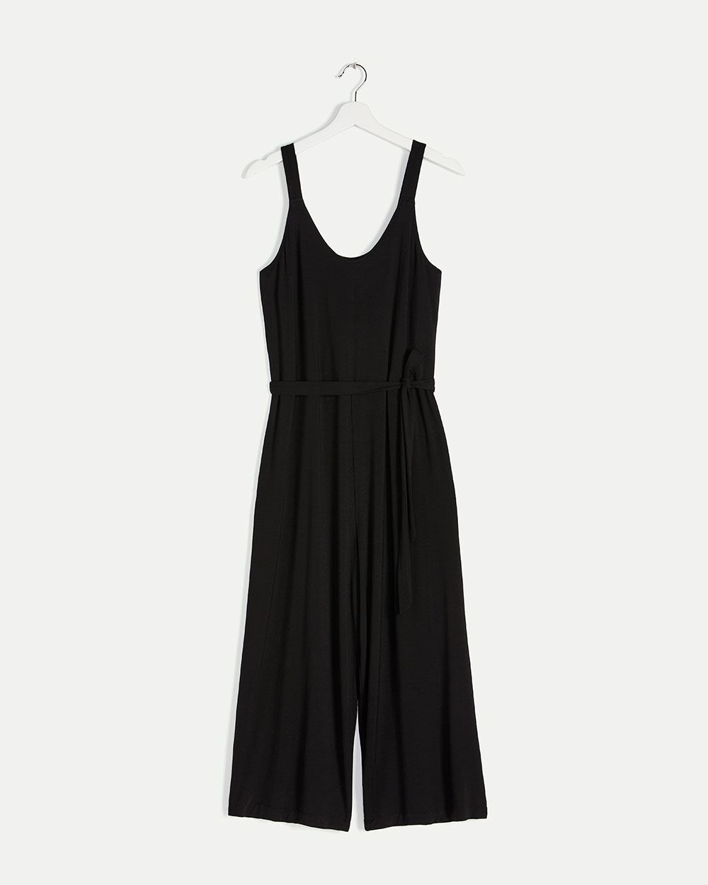 Wide Leg Cropped Jumpsuit with Sash