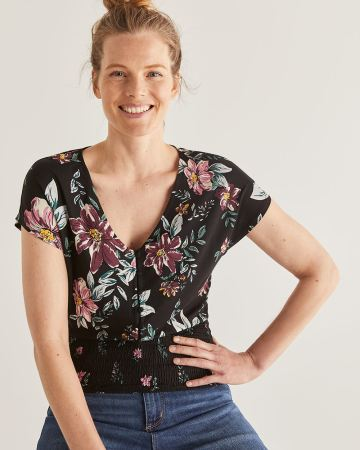Button Front Printed Top with Smocking