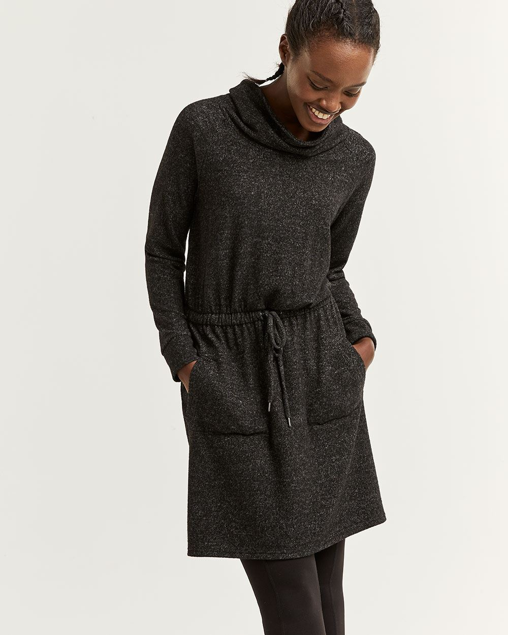 Hyba Brushed Knit Dress with Drawstring
