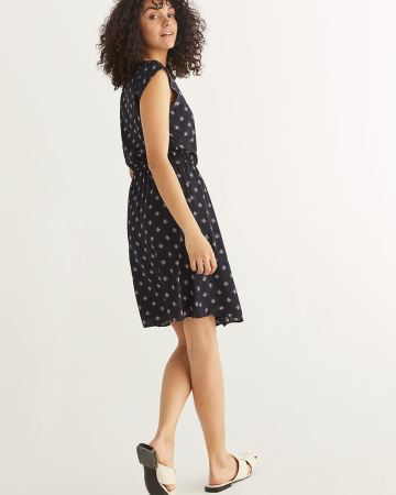 Printed Crepe Dress with Criss Cross Detail