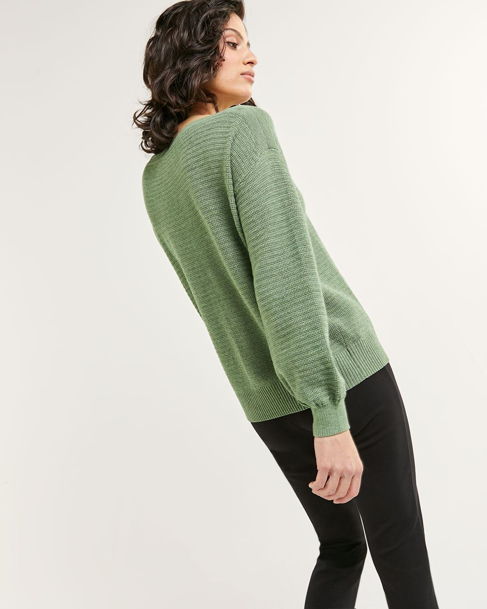 Long Balloon Sleeve Boat Neck Sweater - Petite