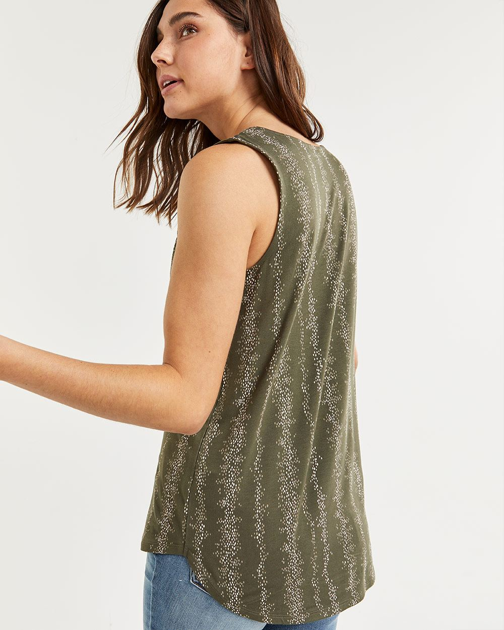 Split Neck Printed Sleeveless Top