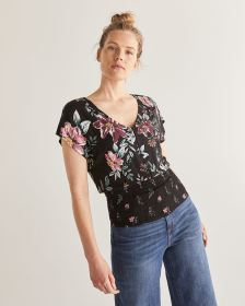 Button Front Printed Top with Smocking - Petite