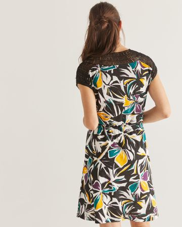 Crochet Insertion Floral Printed Elastic Waist Dress