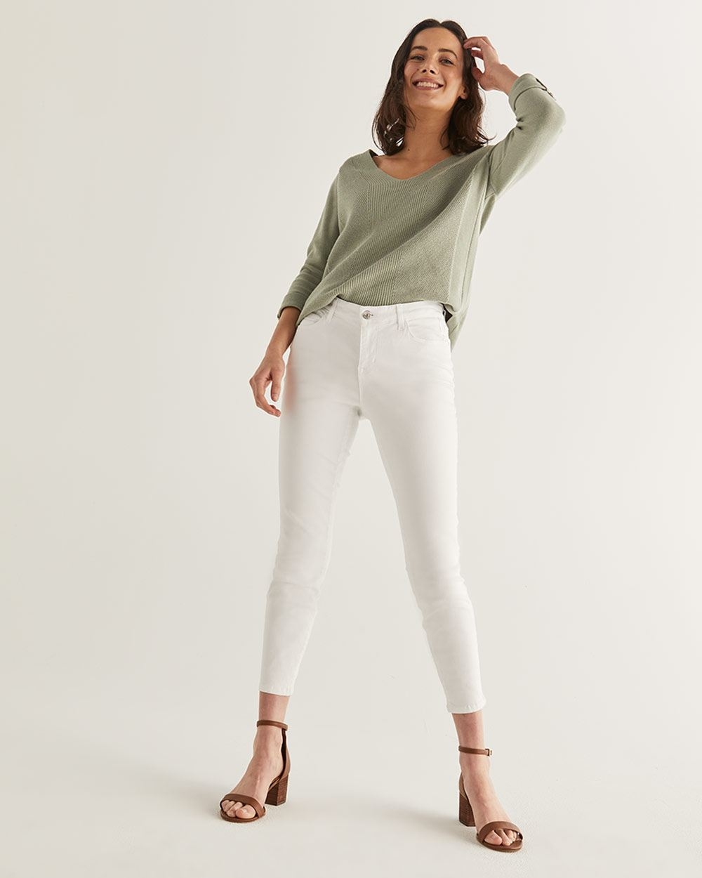 White Skinny Ankle Jeans - Petite