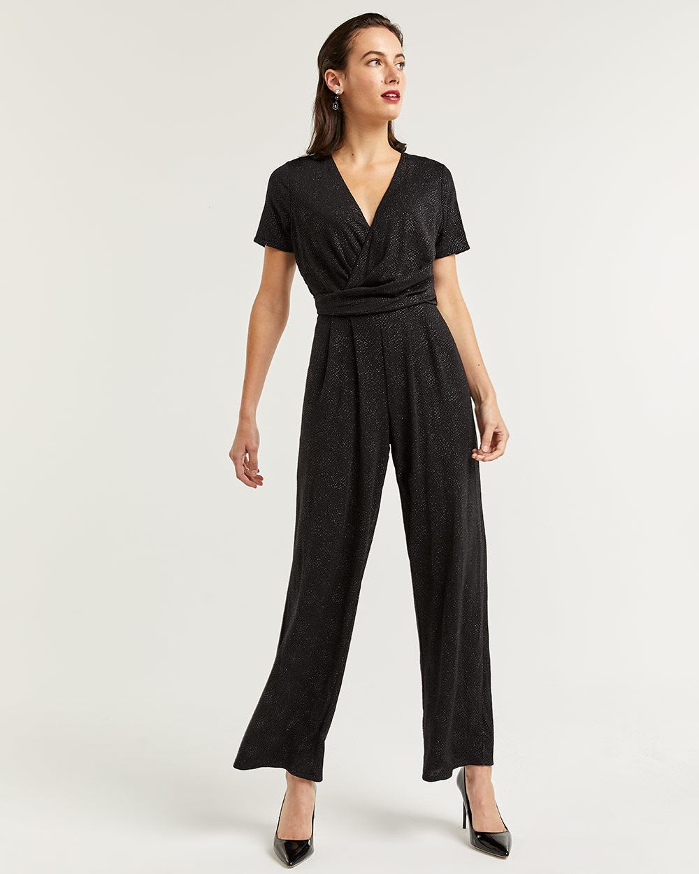 Short Sleeve Shimmer Palazzo Jumpsuit
