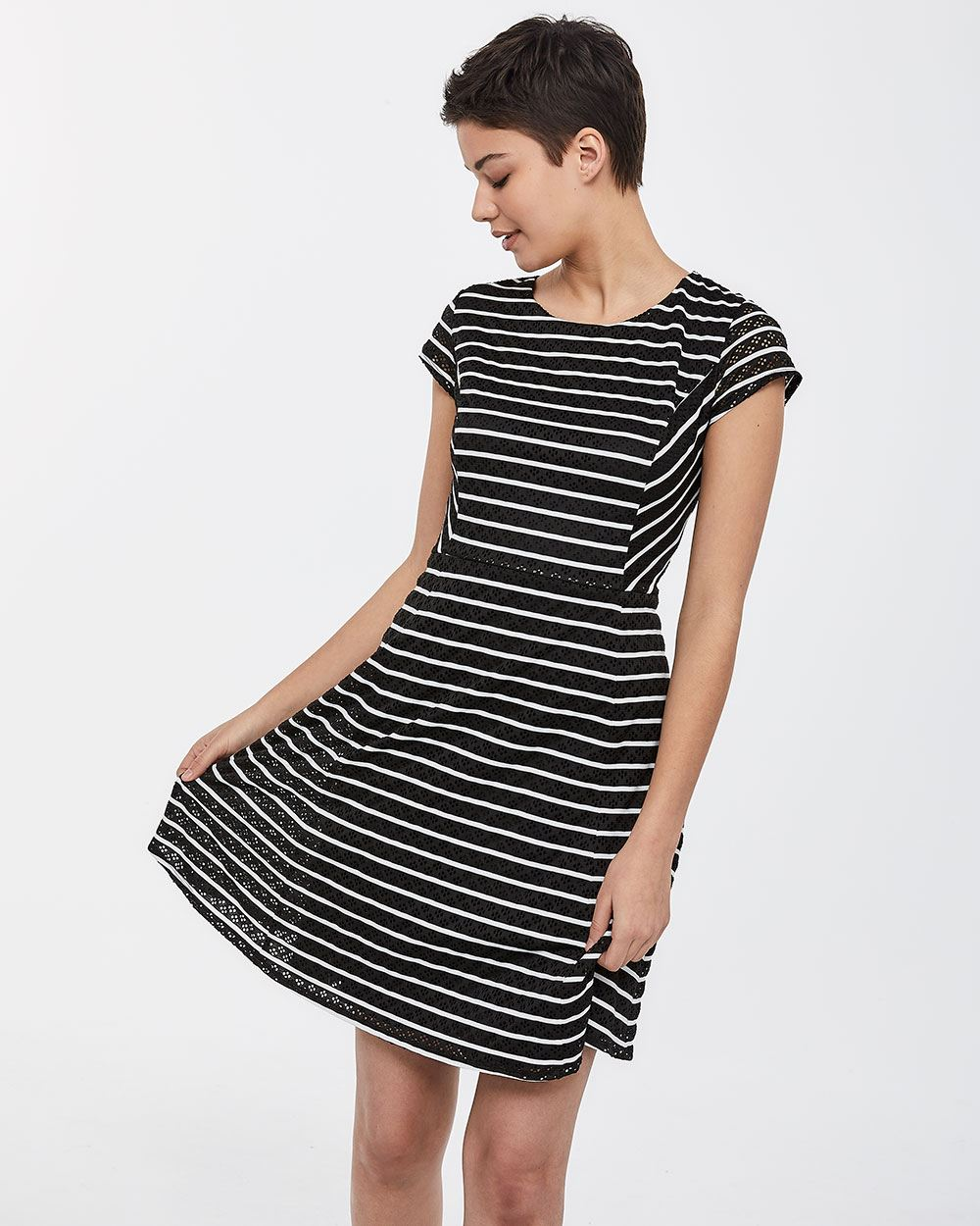 Eyelet and Stripe Dress