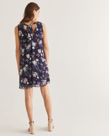 Floral Print Dress with Tie