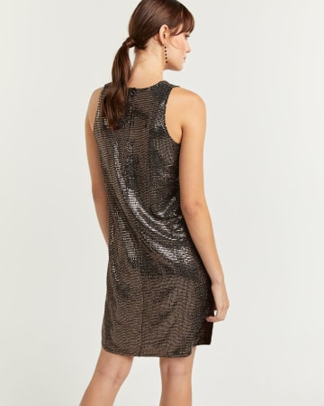 Gold Sequin Sleeveless Shift Dress